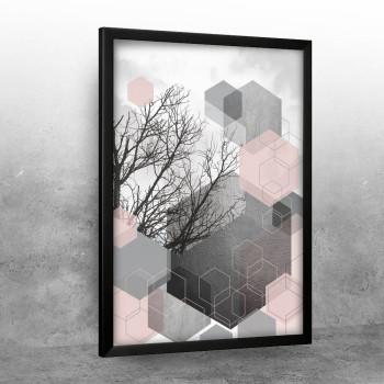 Sivo nebo sa roze heksagonima