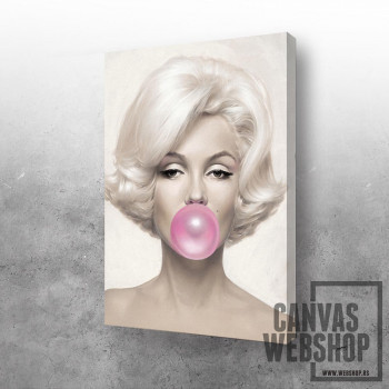 Marilyn with pink bubble gum