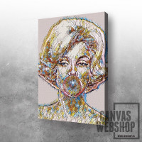 Abstract Marilyn with pink bubble gum