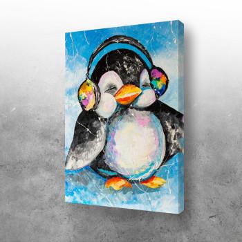 Pingvin sluša muziku