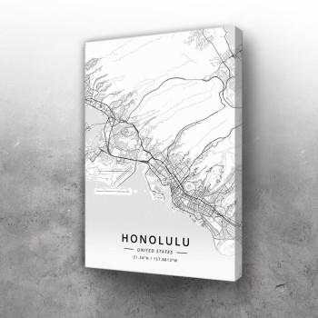 Honolulu mapa - white