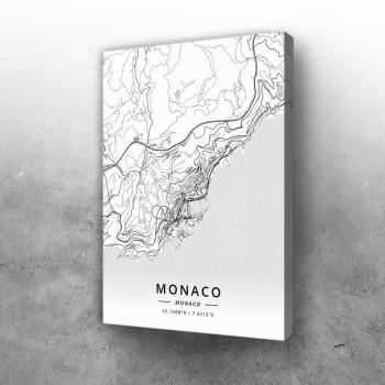 Monako mapa - white