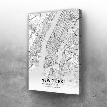 New York mapa - white