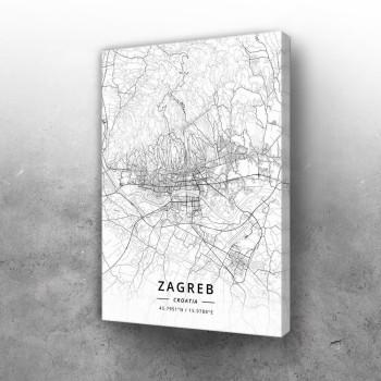 Zagreb mapa - white